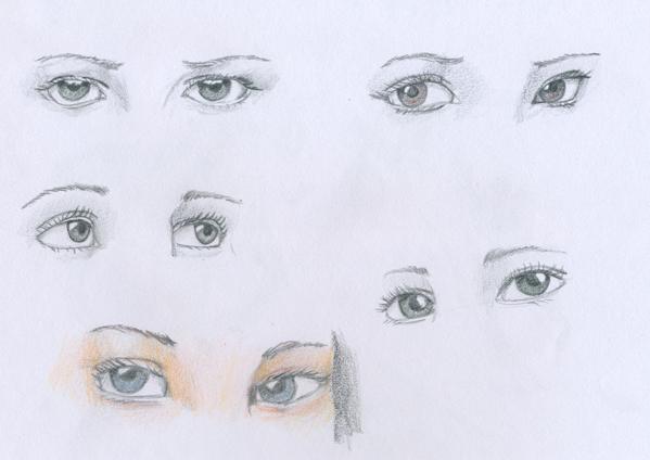 Estudio de ojos y perspectivas, tomado de un modelo idéntico